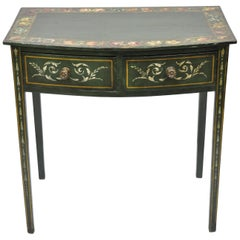 Antique Green Flower Painted Victorian 2-Drawer Demilune Hall Console Table