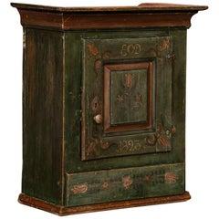 Antique Green Folk Art Painted Hanging Cabinet
