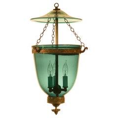Antique Green Glass Bell Jar Lantern