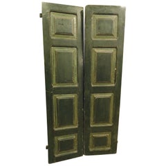 Antique Green Hand Painted Wooden Double Door with 8 Panels, 1700, Italy