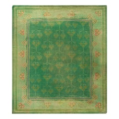 Early 20th Century Green Handwoven Wool Irish Donegal Rug
