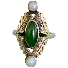 Antique Green Jade Cabochon and Pearl 14 Karat Yellow Gold Ring - Size 4