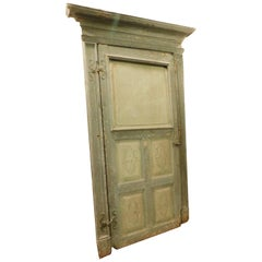 Antique Green Lacquered and Carved Door, Original Frame, Italy, 1700