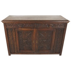 Antique Green Man Gothic Carved Oak Sideboard, Buffet, Scotland 1880, B2254