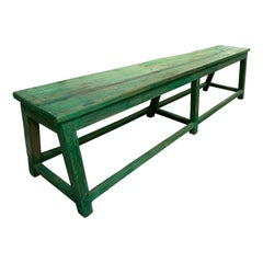 Antique Green Painted Bench