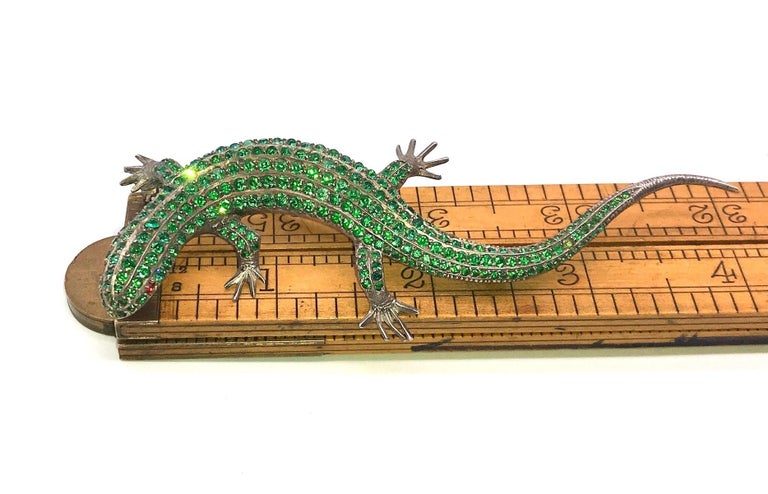 Antique Green Paste Lizard Brooch on Sterling For Sale 1
