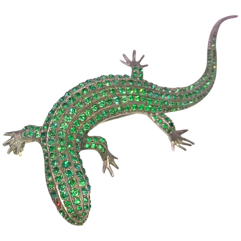 Antique Green Paste Lizard Brooch on Sterling For Sale