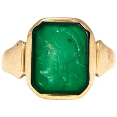 Antique Green Stone Intaglio and 9 Carat Gold Signet