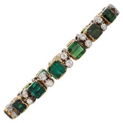 Antique Green Tourmaline and Diamond Link Bracelet in Gold and Platinum