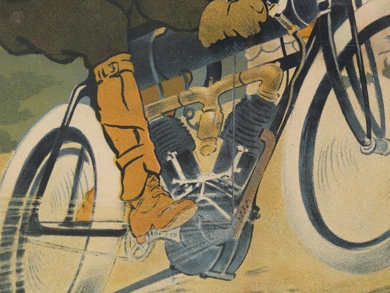 Paper Antique Griffon Motorcycle Racing Poster by Walter Thor, circa 1910 For Sale