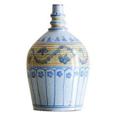 Antique Grottaglia Ceramic Bottle Vase with Decorations, Italy Late 19th Century