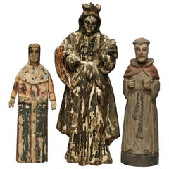 Antique Group of Three Spanish Polychromed Carved Wood Santos Figures