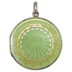 Antique Guilloché Enamel Pendant Locket Medallion France