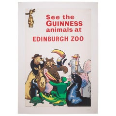 Antique Guiness Beer/Ediburgh Zoo Poster, circa 1940