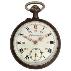 Antique Gunmetal Casing Pin Set Hand Winding Pocket Watch