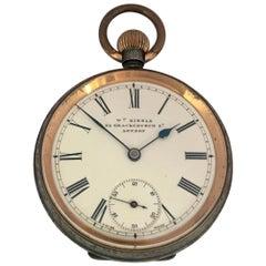 Antique Gunmetal Hand Winding Omega Lever Pocket Watch