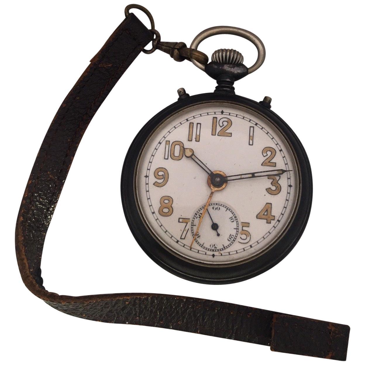 Antique Gunmetal Junghans Mechanical Travel Alarm Clock or Pocket Watch