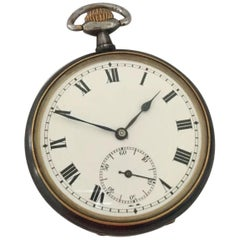 Antique Gunmetal Stem-Wind Pocket Watch