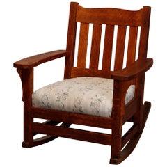 Antique Gustav Stickley School Arts & Crafts Mission Oak Rocking Chair