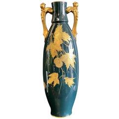 Antique Gustave Asch Blue Green and Gold Porcelain Vase