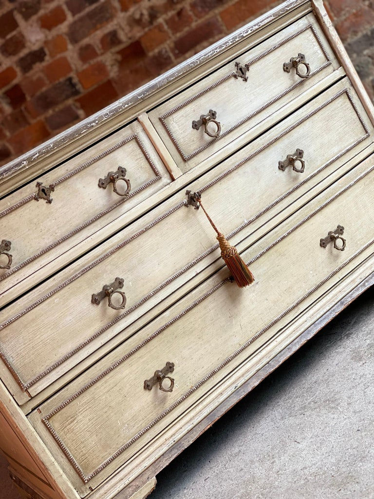 Hand-Painted Antique Gustavian Chest of Drawers Commode, Swedish, 19th Century, circa 1870 For Sale