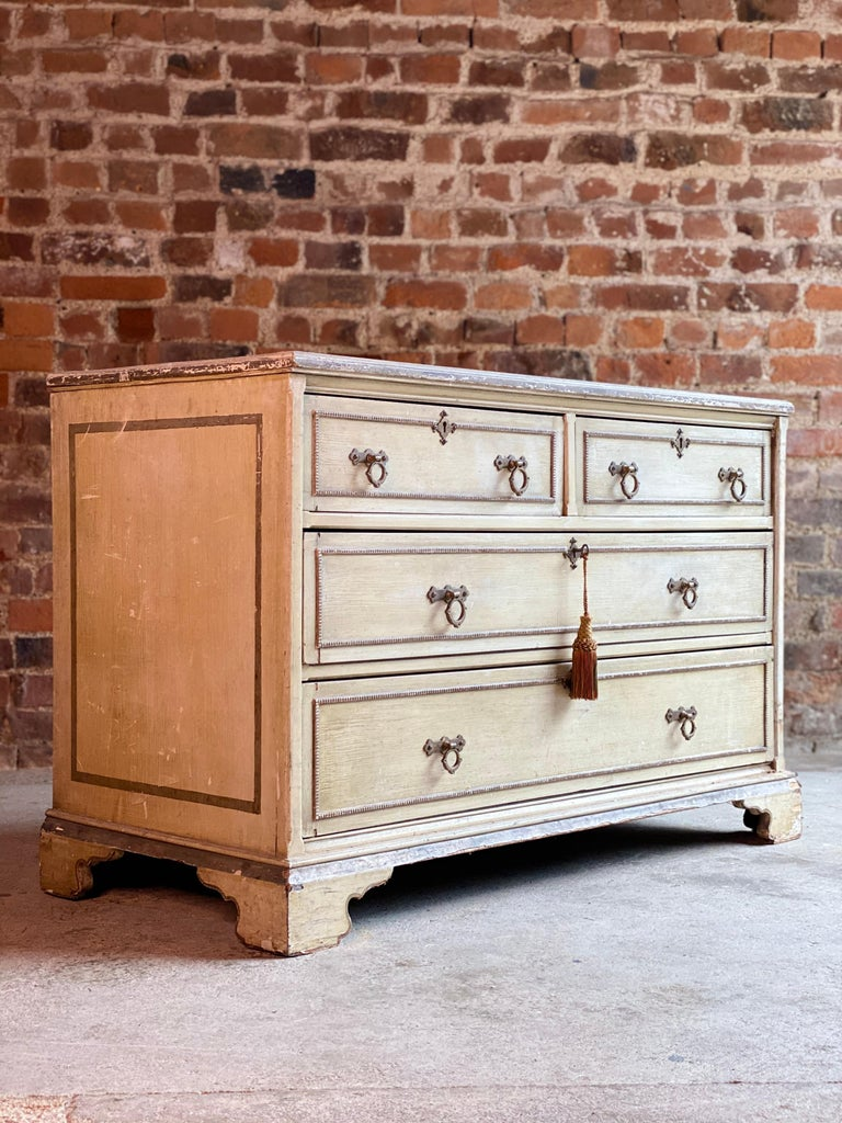 Hand-Painted Antique Gustavian Chest of Drawers Commode Swedish, 19th Century, circa 1870