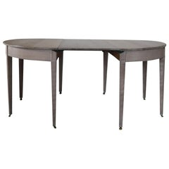 Antique Gustavian Style Limed Oak D-End Dining Table, English, circa 1780