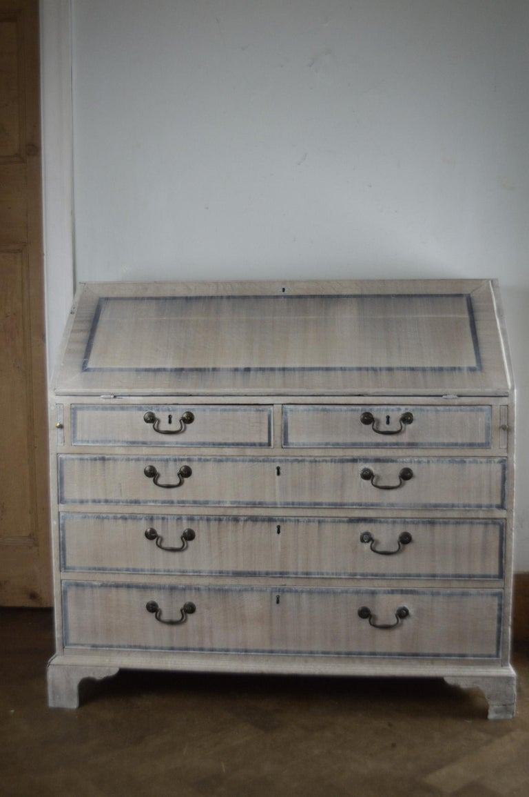 Late 18th Century Antique Gustavian Style Limed Oak Secretary. English, 18th Century. For Sale