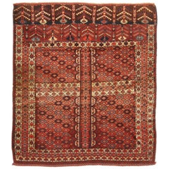 Antique Hachli Transitional Red and Beige Wool Persian Rug