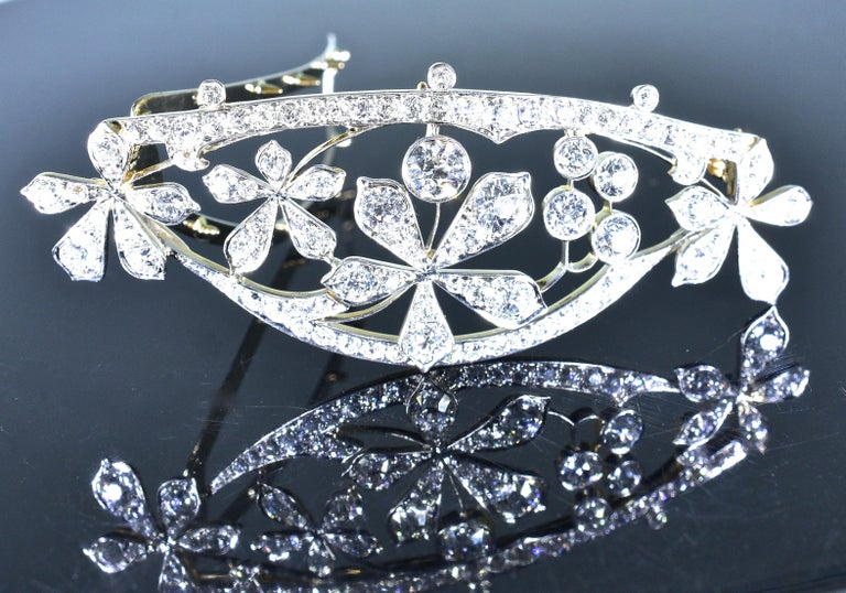 Women's or Men's Antique Hair Barrette in Platinum and Diamonds, circa 1895 by Kirkpatrick For Sale