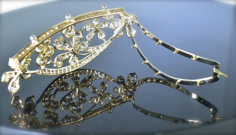 Antique Hair Barrette in Platinum and Diamonds, circa 1895 by Kirkpatrick For Sale 1
