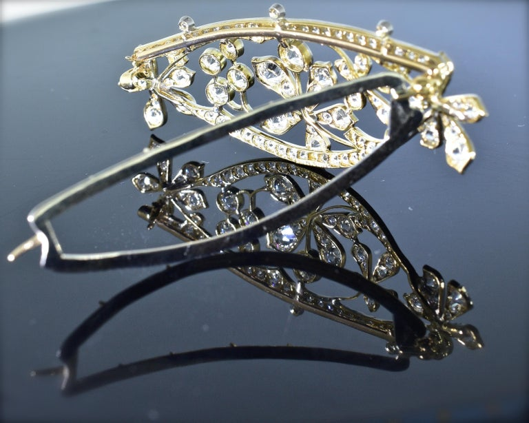 Antique Hair Barrette in Platinum and Diamonds, circa 1895 by Kirkpatrick For Sale 2