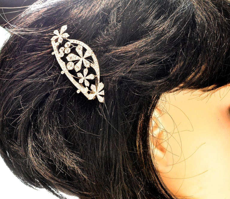 Antique Hair Barrette in Platinum and Diamonds, circa 1895 by Kirkpatrick For Sale 3