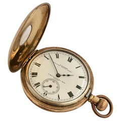 Antique Half Hunter Gold-Plated Waltham Pocket Watch