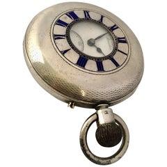 Antique Half Hunter Silver J. W. Benson London Stem Winding Pocket Watch