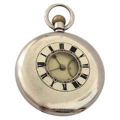 Antique Half Hunter Silver Swiss Made Pocket Watch