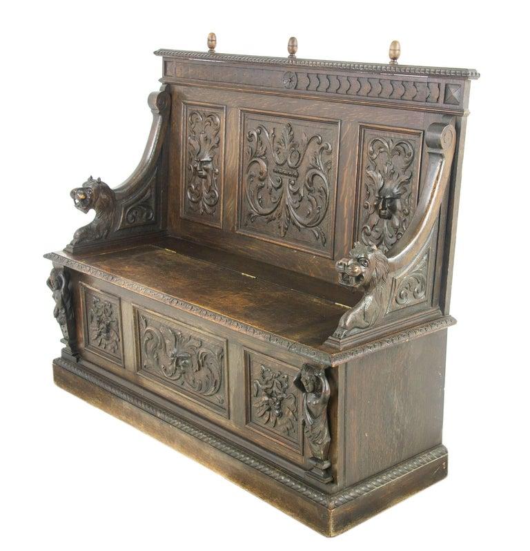 Antique Hall Bench, Entryway Furniture, Carved Oak Settle