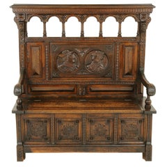 Antique Hall Bench, Monks Bench, Settle, Hall Bench, Scotland 1870, B1742