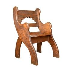Antique Hall Chair, English, Victorian Pitch Pine Armchair, Ecclesiastical