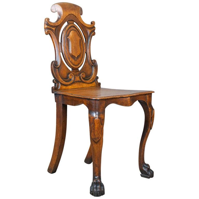 Antique Hall Chair, Scottish, Victorian, Oak, Side, 19th Century, circa - Antique Hall Chair, Scottish, Victorian, Oak, Side, 19th Century