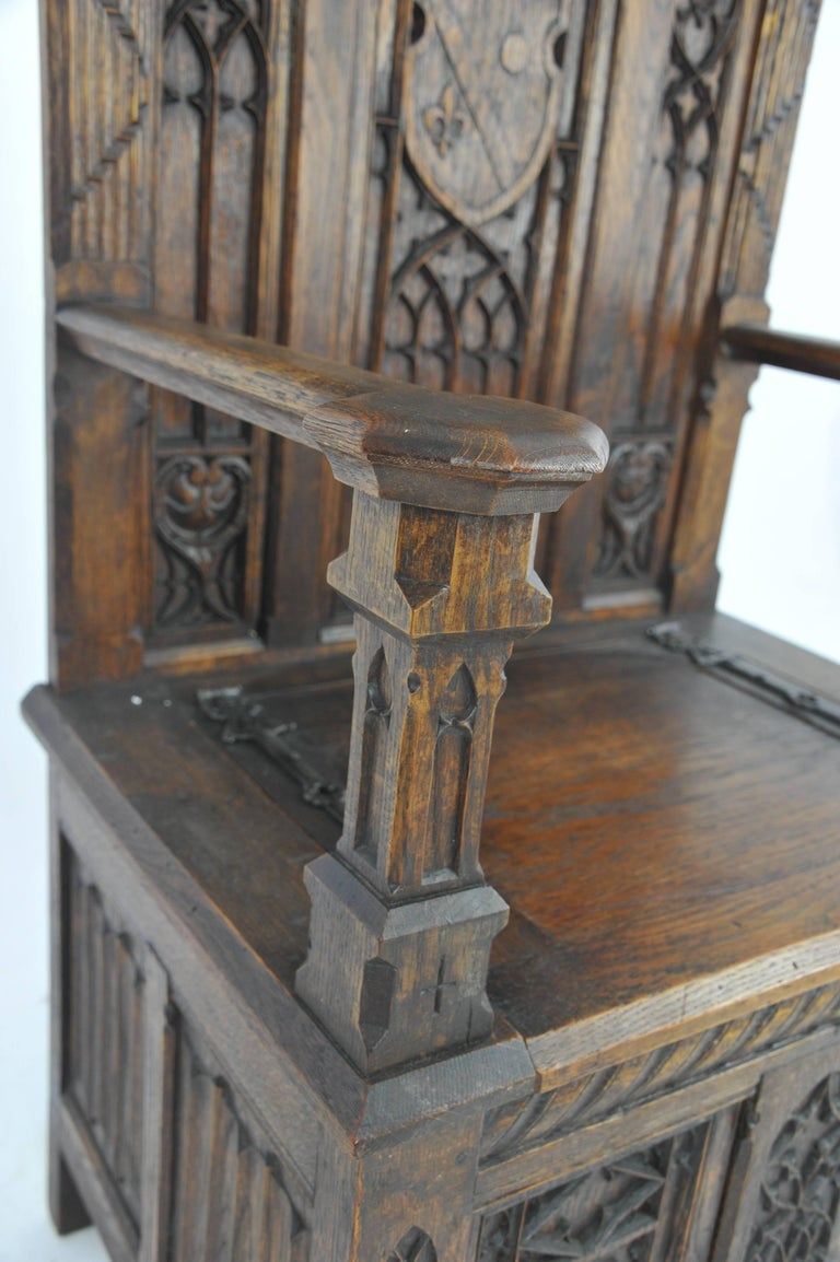 Antique hall chair, carved oak bench, Gothic chair, antique furniture,  France, - Antique Hall Chair, Carved Oak Bench, Gothic Chair, France, 1890 At
