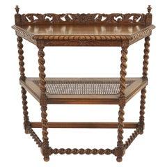 Antique Hall Table, Carved Tiger Oak, Barley Twist, Scotland 1910, B2538