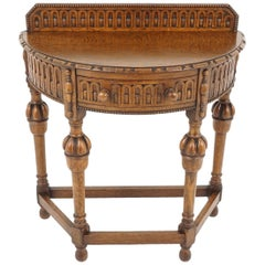 Antique Hall Table, Carved Tiger Oak Bow Front Lamp Table, Scotland 1920, B2245
