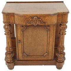 Antique Hall Table, Victorian Carved Tiger Oak End Table, Scotland, 1920