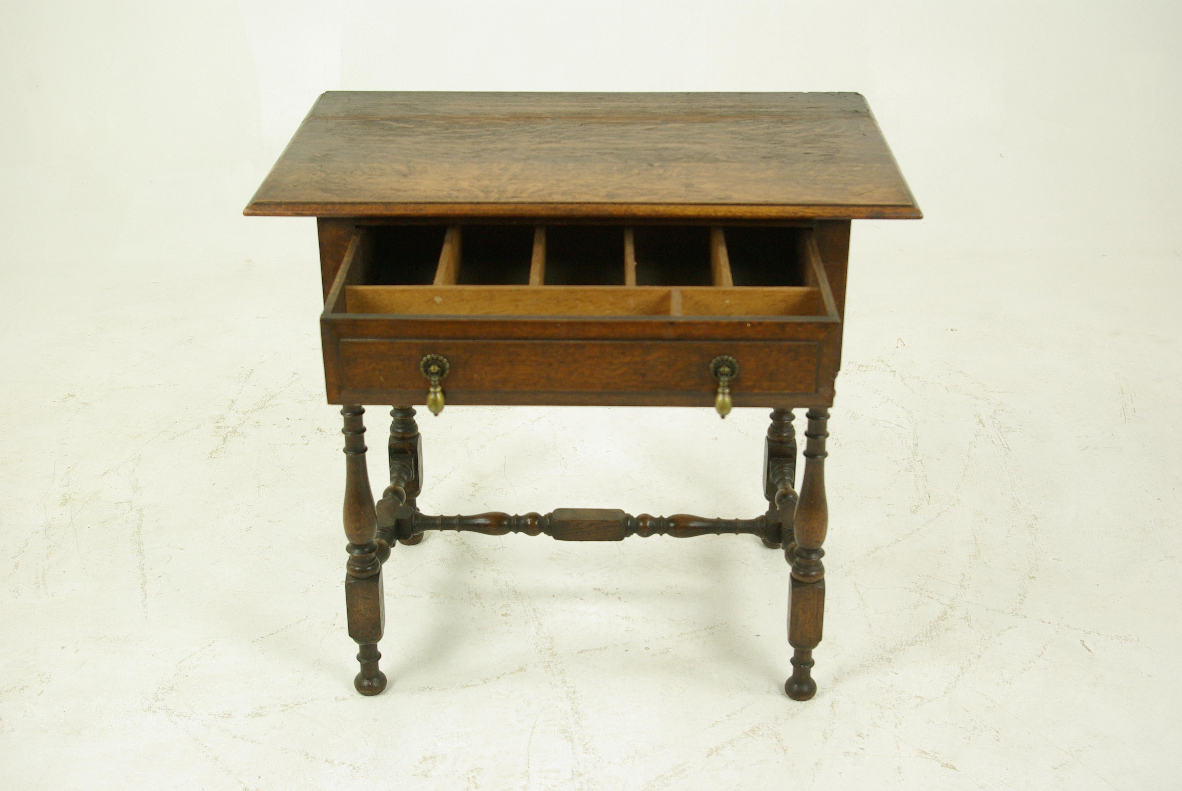 Antique Hall Table, Writing Table, Lamp Table, Tiger Oak, Scotland, 1910  For Sale At 1stdibs