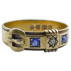 Antique Hallmarked 18 Carat Yellow Gold Blue Sapphire and Diamond Buckle Ring