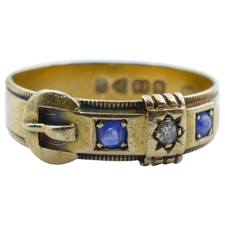 Antique Hallmarked 18 Carat Yellow Gold Blue Sapphire and Diamond Buckle Ring For Sale