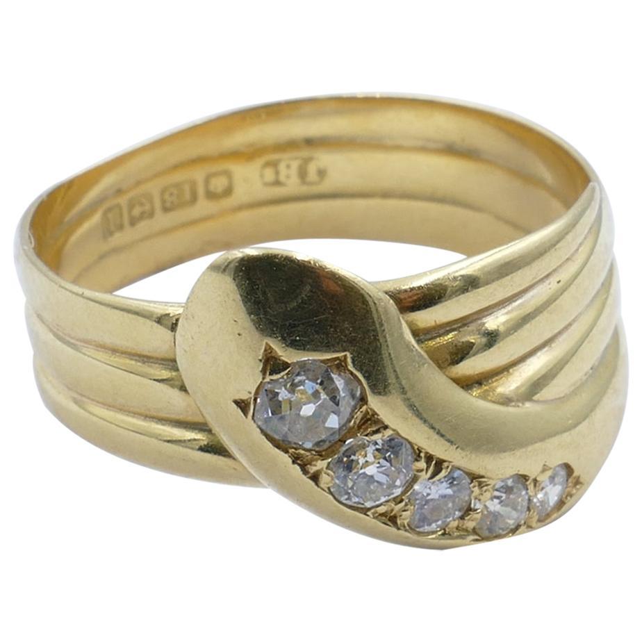 Antique Hallmarked 18 Carat Yellow Gold Diamond Snake Ring