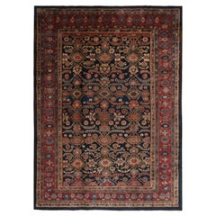 Antique Hamadan Geometric-Floral Red and Navy Blue Wool Persian Rug