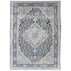 Antique Hamadan Persian Rug with Center Medallion and Floral Design